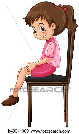 Little girl sitting on big chair Clip Art.
