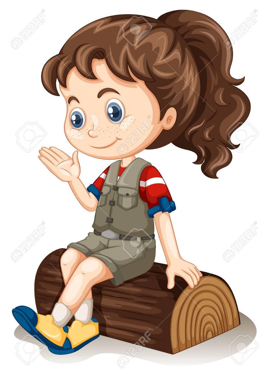 Little girl sitting on log illustration.