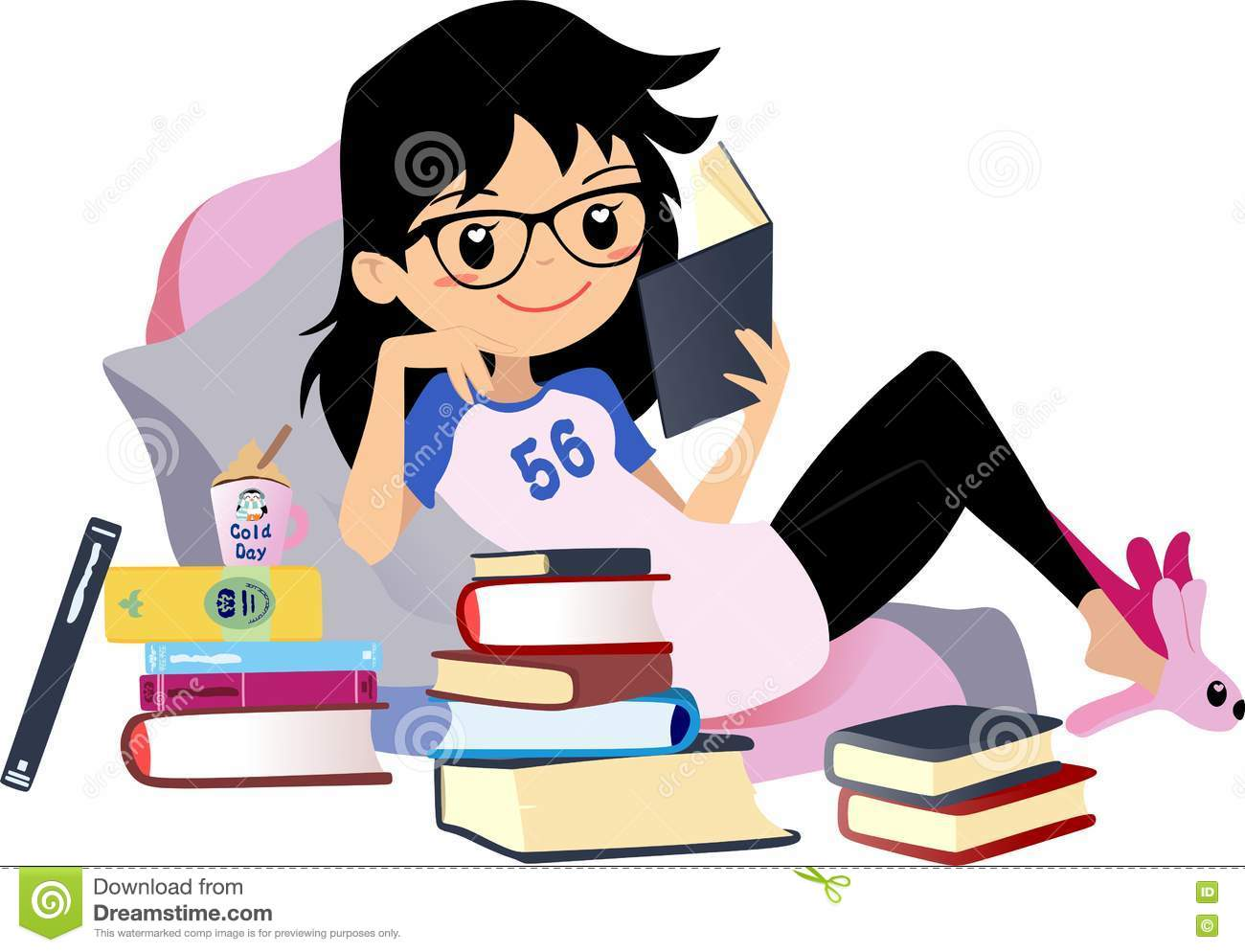Clipart Girl Sitting On The Floorand Reading A Book.
