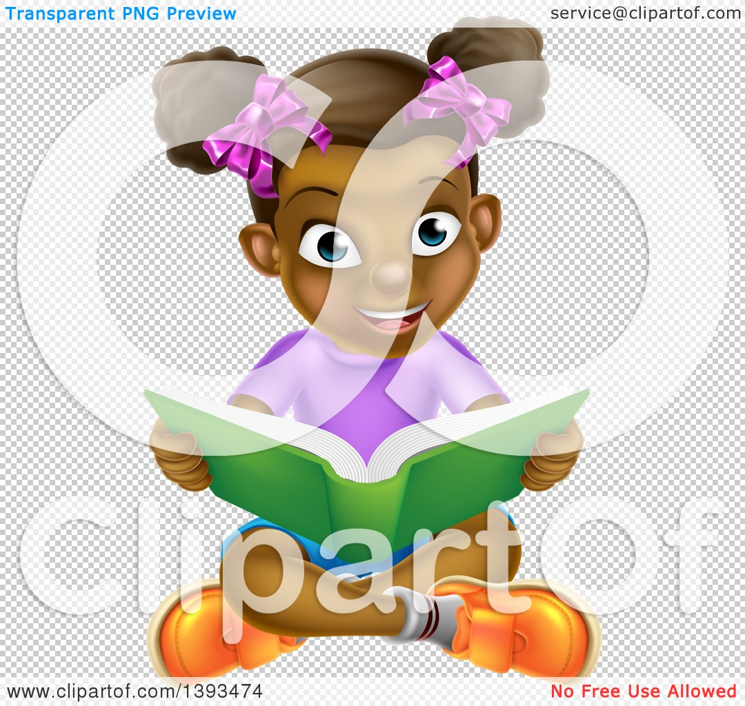 Clipart of a Happy Black Girl Sitting on the Floor and Reading a.