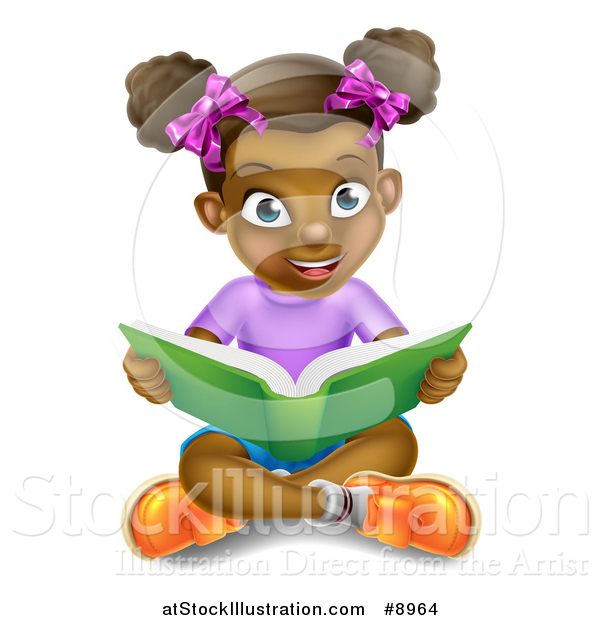 Vector Illustration of a Happy Black Girl Sitting on the Floor and.
