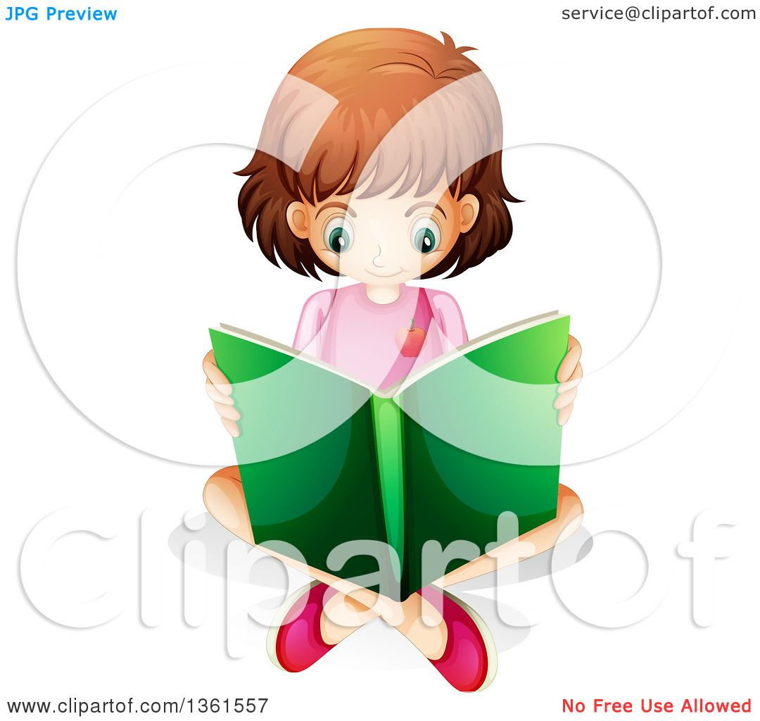 Clipart of a White Girl Sitting on the Floor and Reading a Book.