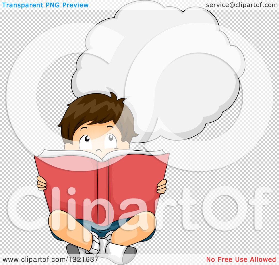 Clipart of a Thinking Brunette White Boy Sitting on the Floor and.