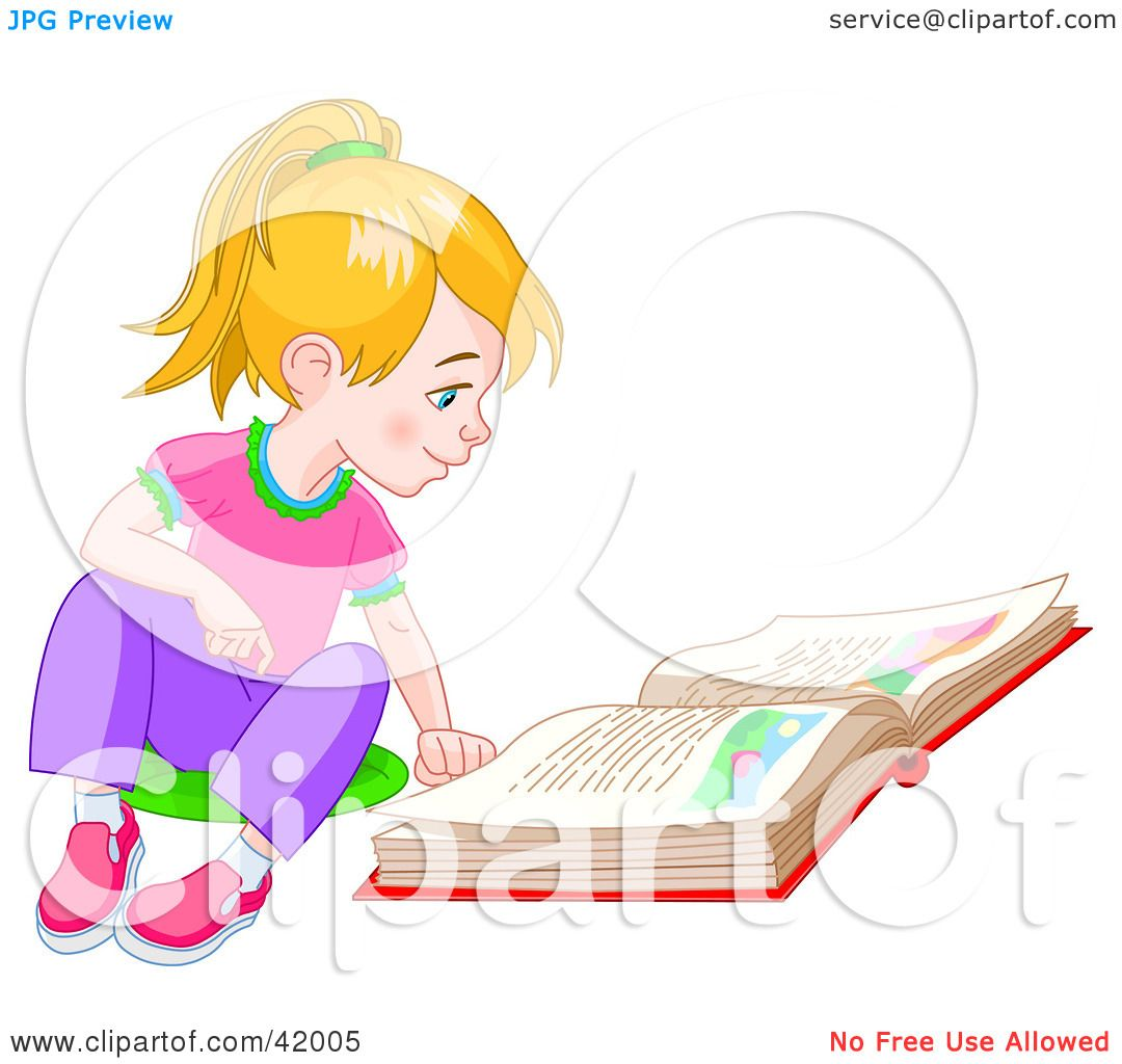Clipart Illustration of a Blond Little Girl Sitting On The Floor.