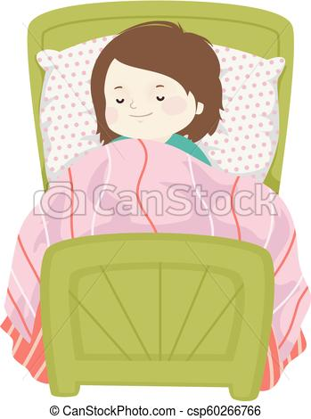 Kid Girl Sleep Bed Illustration.