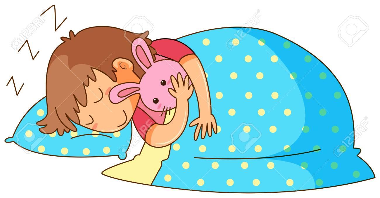 Little girl sleeping with bunny doll illustration.