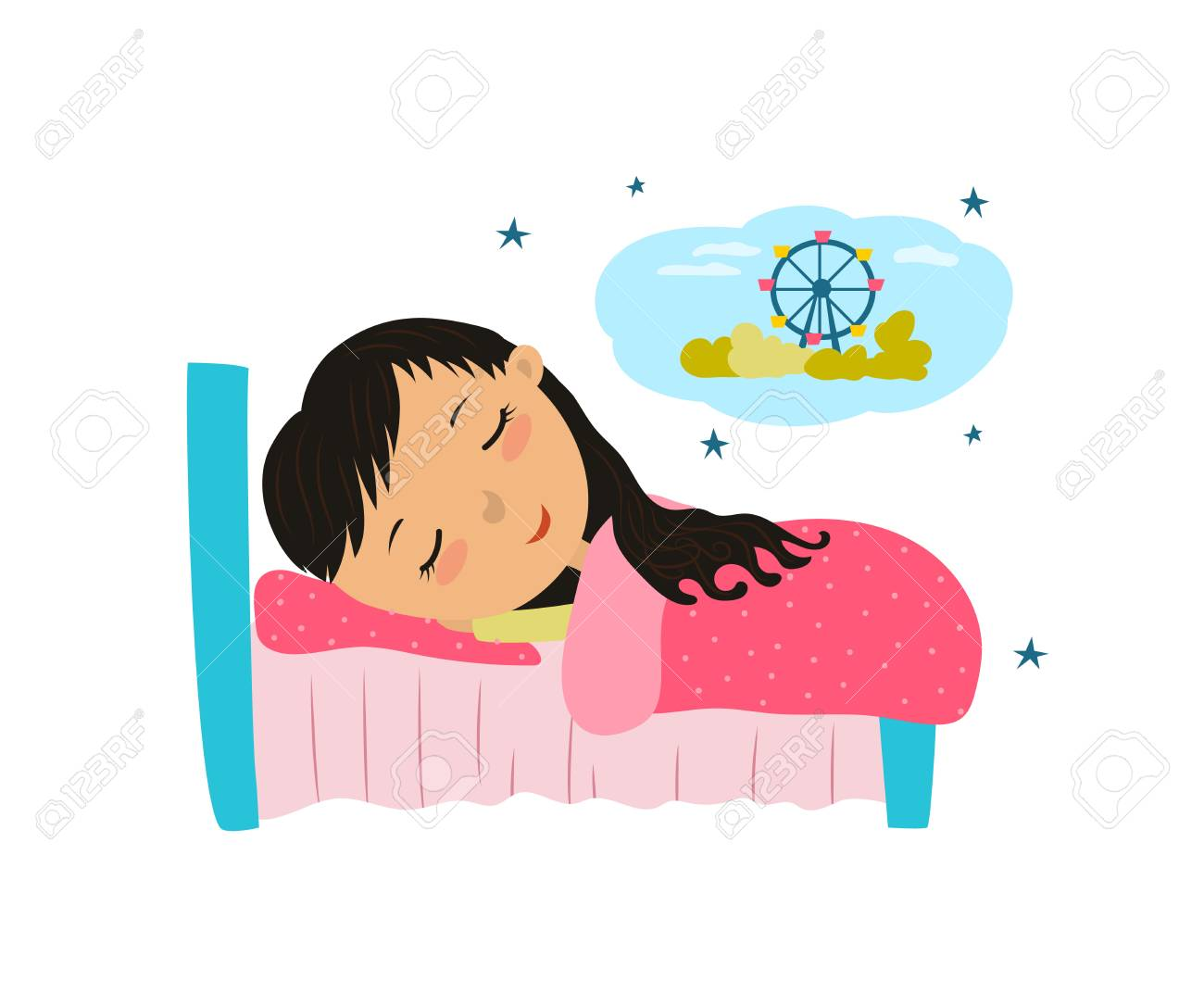 Cute little girl sleeping and dreaming in bed..