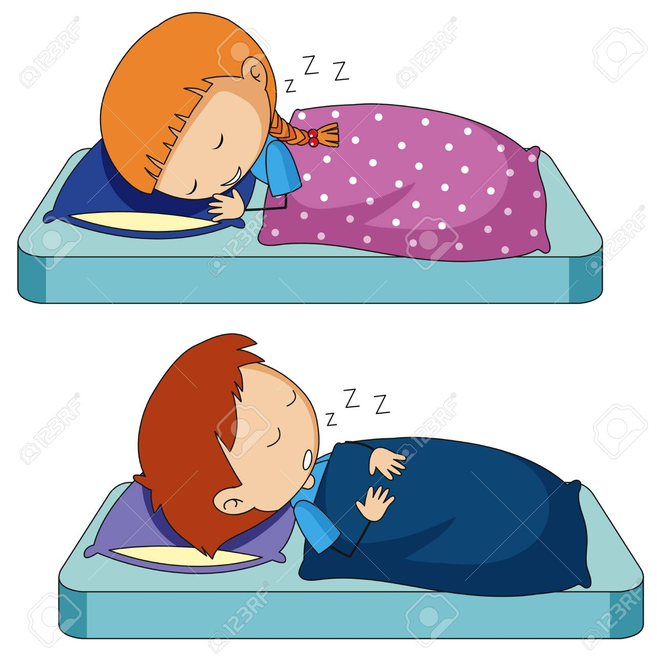 Boy and girl sleeping on bed illustration.