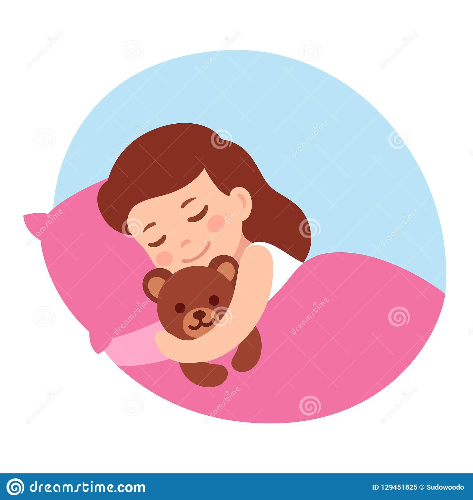 Sleeping Girl With Teddy Bear Stock Vector.