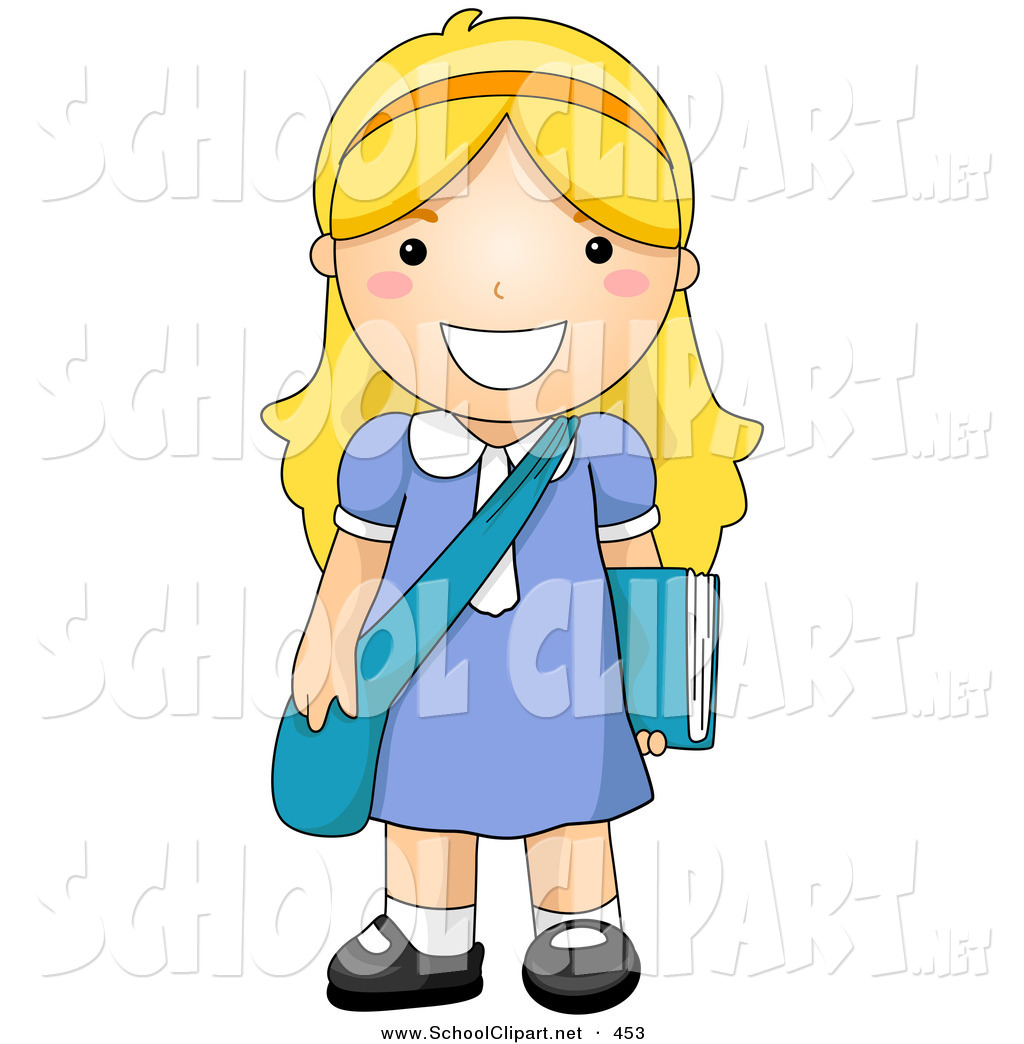 Clip Art of a Blond School Girl Standing with Her Shoulder Bag and.