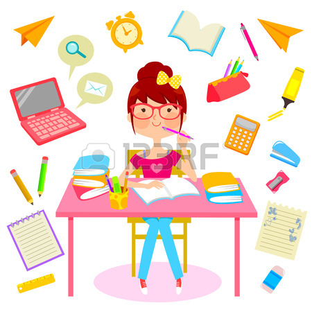 Girl Studying Clipart.