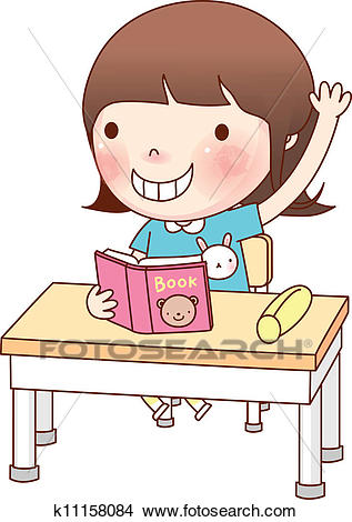 Portrait of Girl studying Clipart.