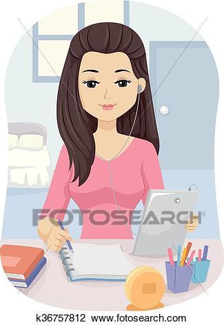 Teen Girl Tablet Study Bedroom Clipart.