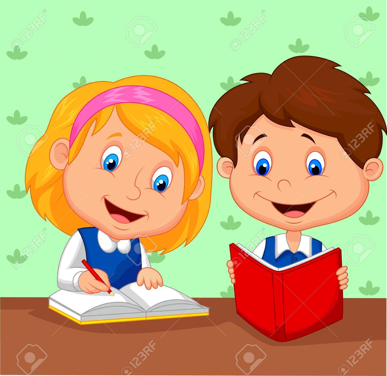 Cartoon Boy and girl study together.