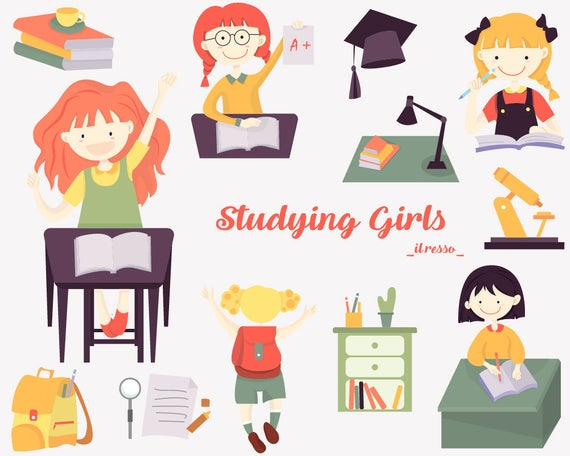 Studying girls clipart, cute kids school , teacher clip art classroom  student educational vector graphic design image reading book 009.