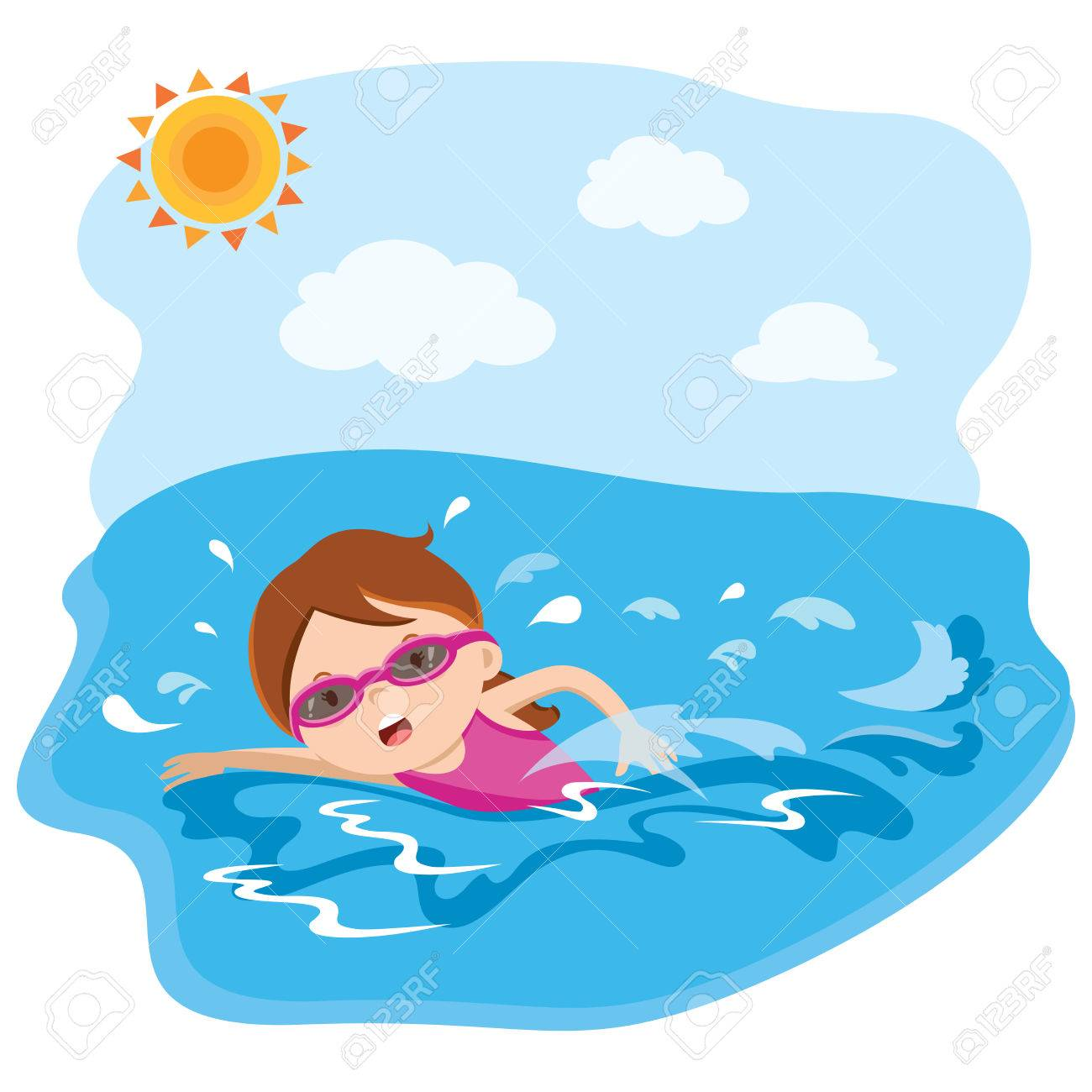 Girl Swimming Clipart Free.