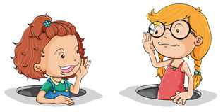 Girls Talking Stock Illustrations.
