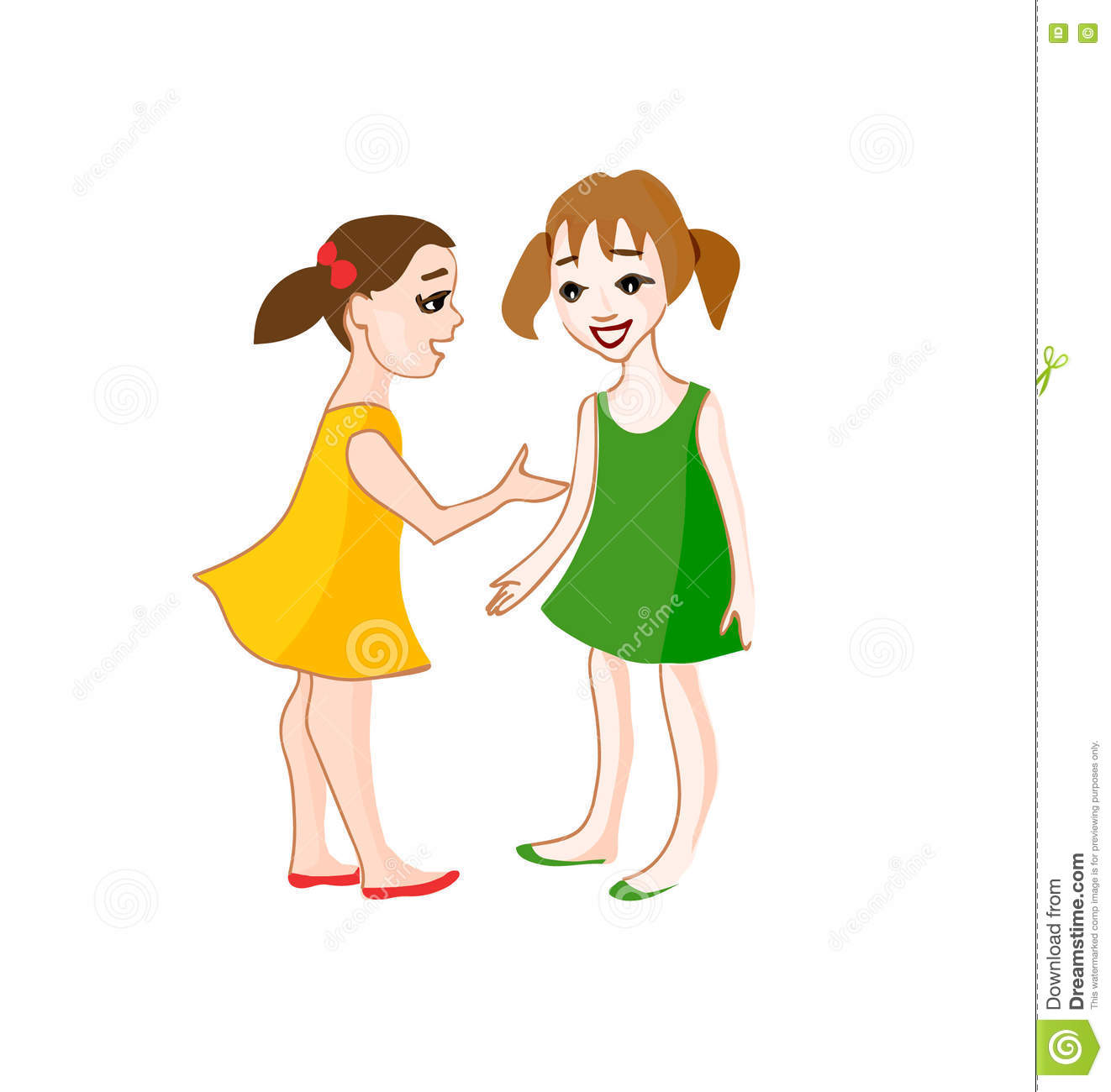 Two Small Girls Talking Stock Vector Image: 73098328.