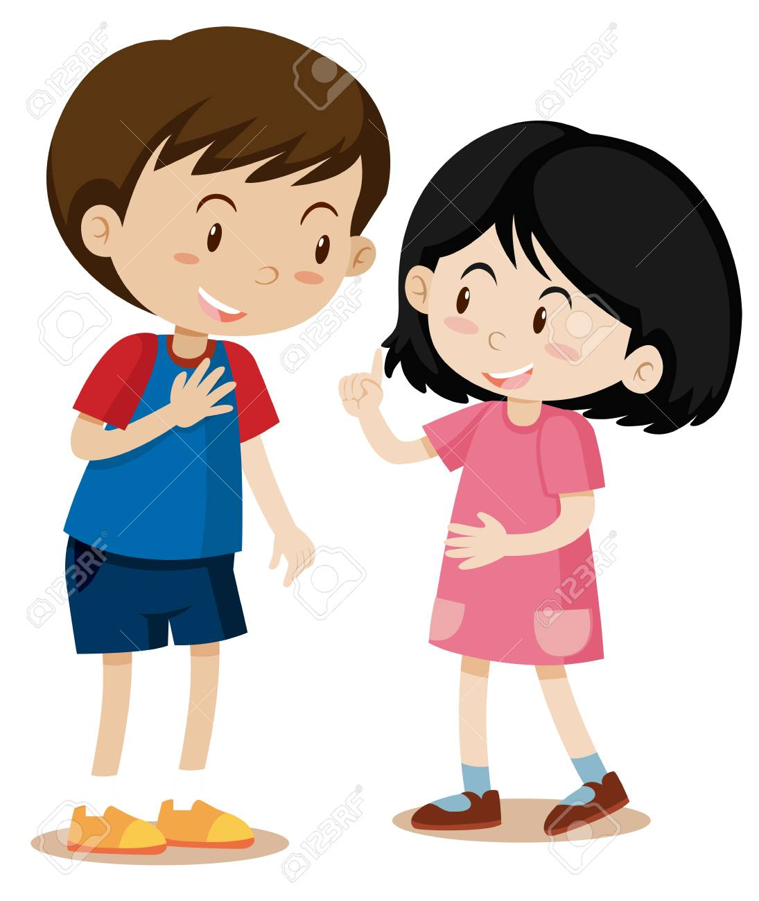Young Boy and Girl Talking illustration.