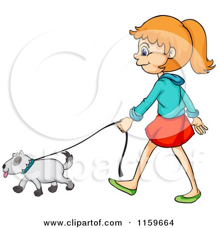 Cartoon of a Girl Walking a Dog.