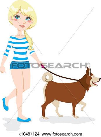 Clipart of Girl Walking Dog k10487124.