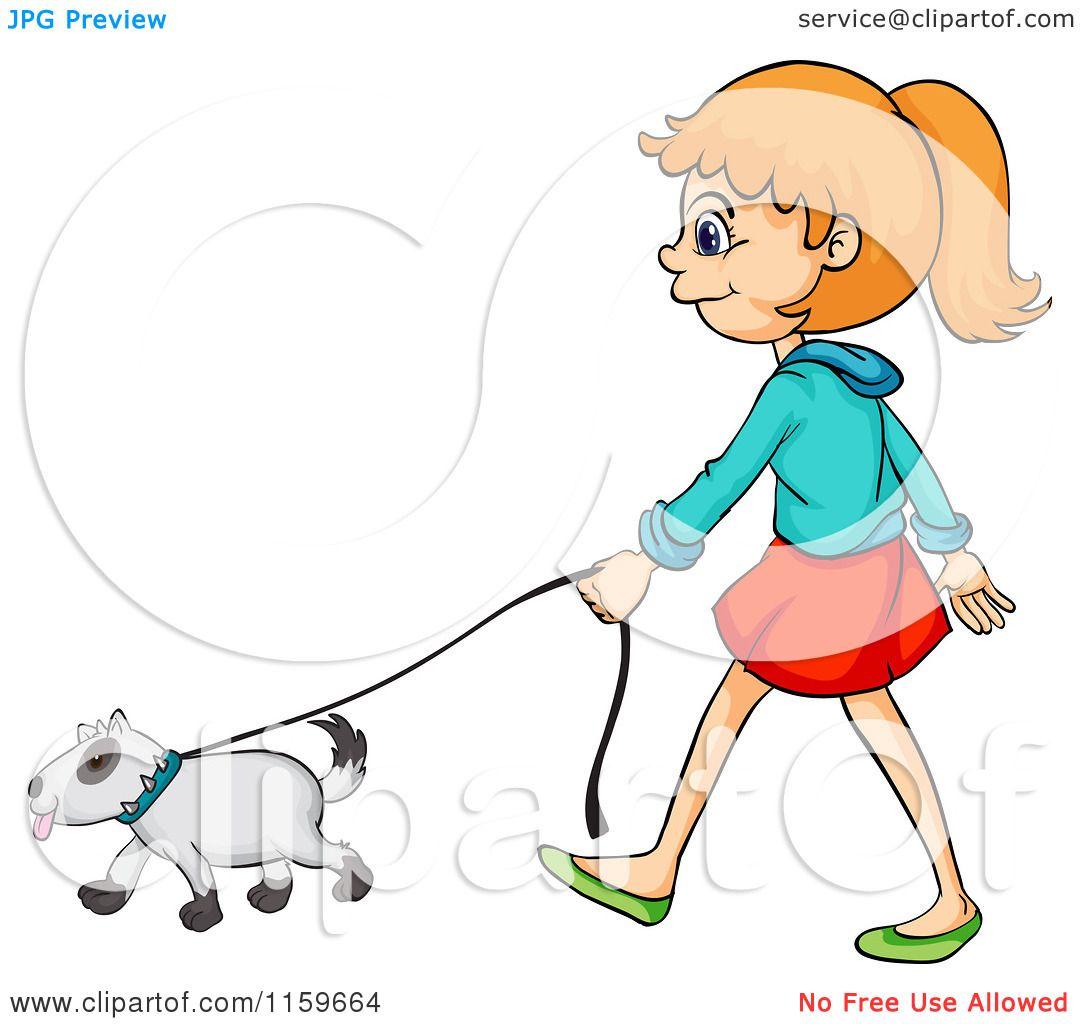 Cartoon of a Girl Walking a Dog.