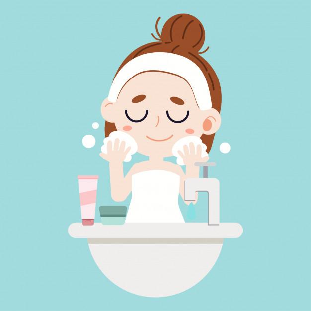 A cute character cartoon girl washing face on blue.