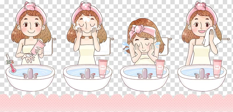 Woman washing face illustration, Cleanser Soap Skin Volcanic.