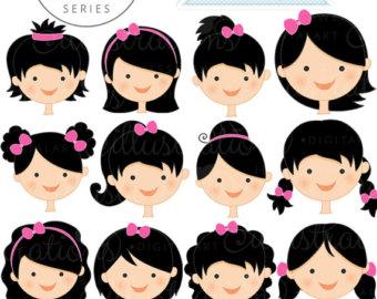 Cute Girls Clipart With Black Hair.