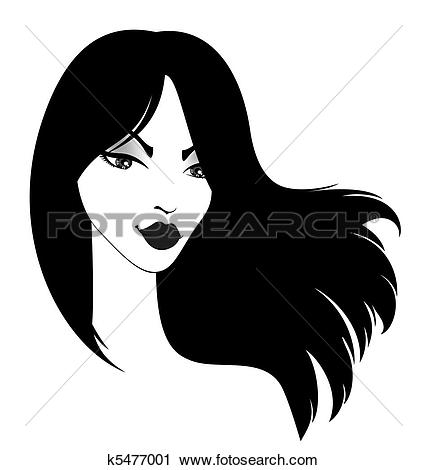 Clipart of girl with long black hairs k5477001.