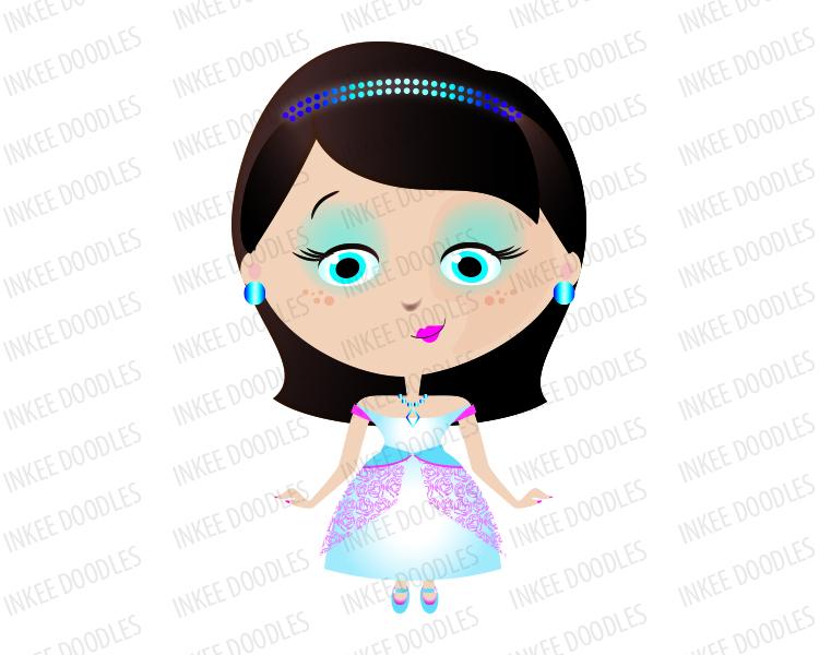 Princess Girl with Dark Black Hair wearing a Tiara and in Teal.