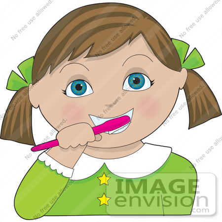 Clip Art Graphic of a Cute Brunette Girl With Blue Eyes, Brushing.