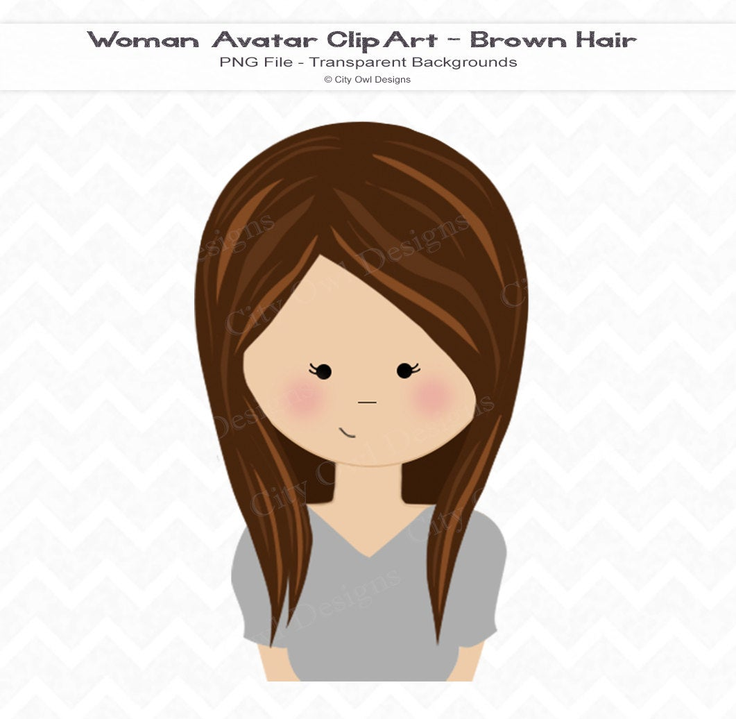 Woman Portrait Clip Art, Brown Hair, Avatar, Girly, Instant Download, PNG  File, Commercial Use.