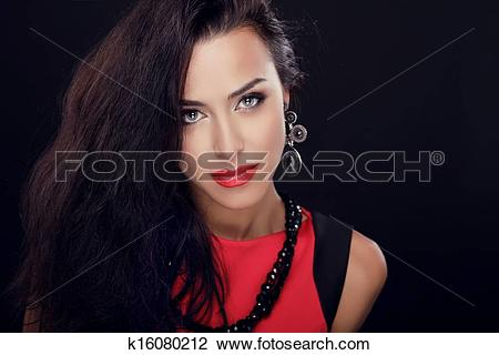 Stock Photo of Blue Eyes. Sexy Beauty Girl with Red Lips.