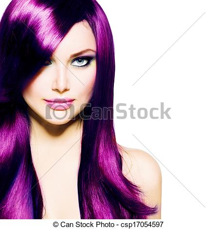 Stock Photographs of Beautiful Girl with Healthy Long Purple Hair.