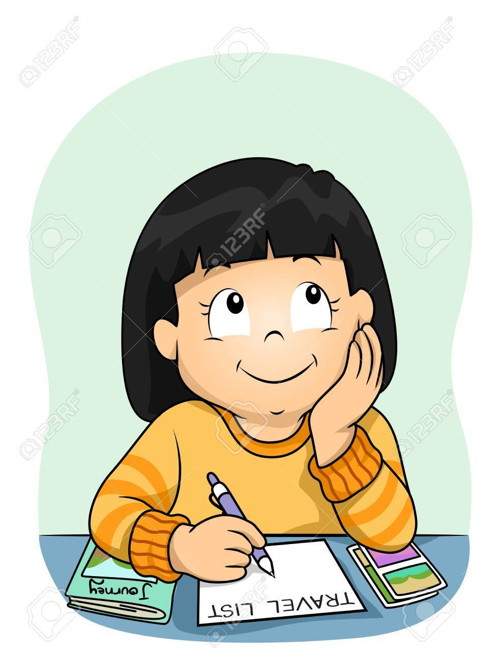 Girl Thinking And Writing Clipart.