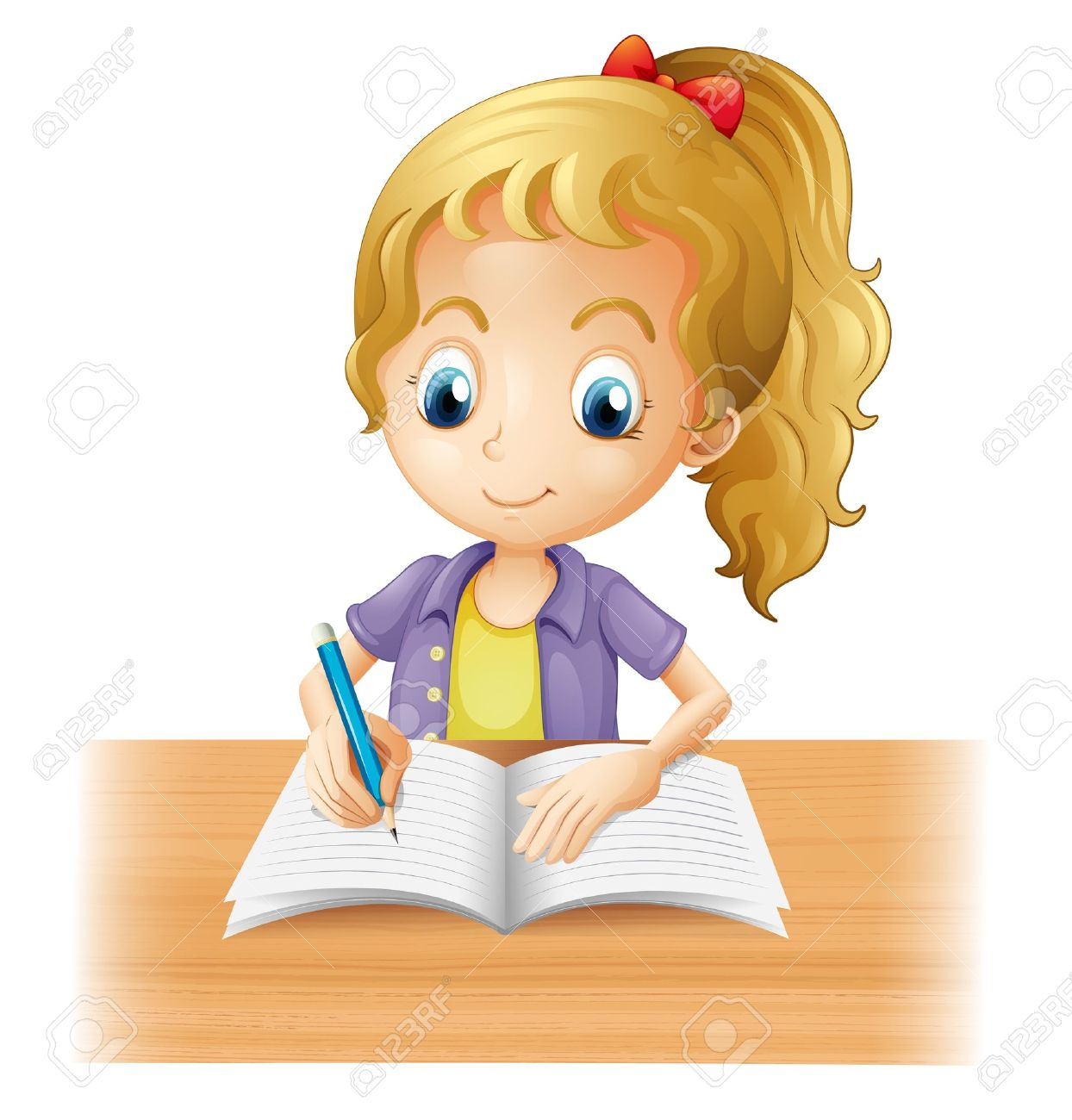 Clipart Of A Girl Writing.