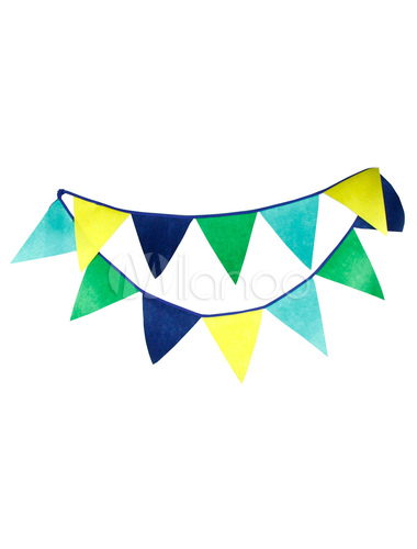 Blue Wedding Decorations Multicolor Triangle Bunting Banner Flags Clipart.