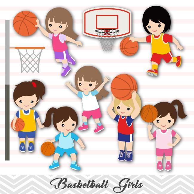 Girls Basketball Digital Clip Art, Sport Girls Basketball.