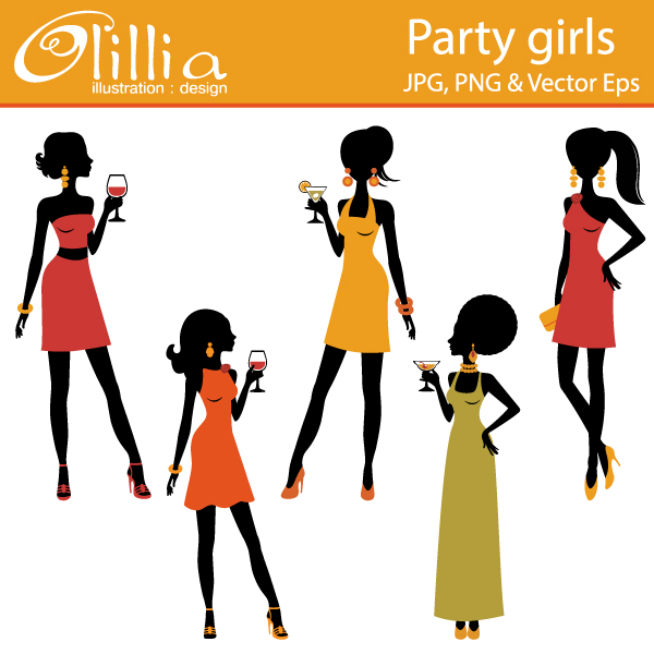 Party girls clipart.