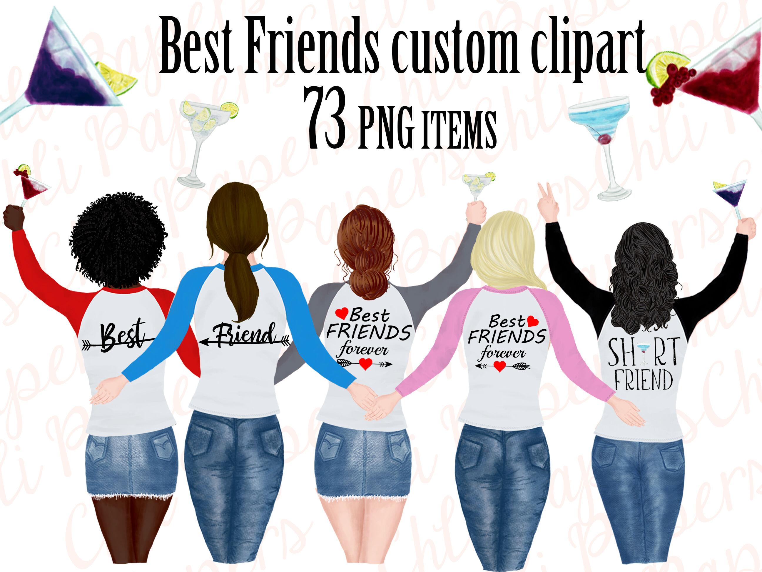 Best friend clipart,Portret creator,Bachelorette party girls.