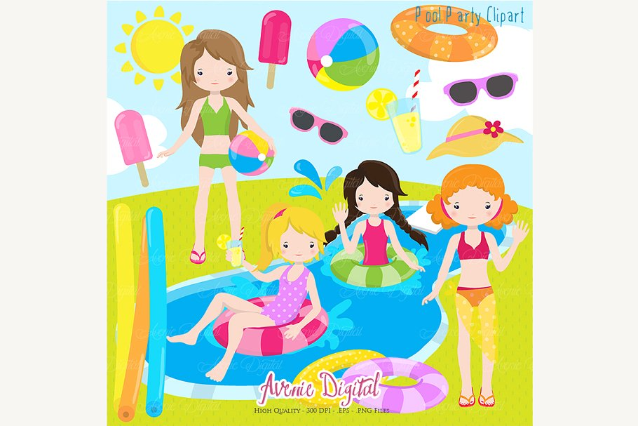 Girls Pool Party Clipart.