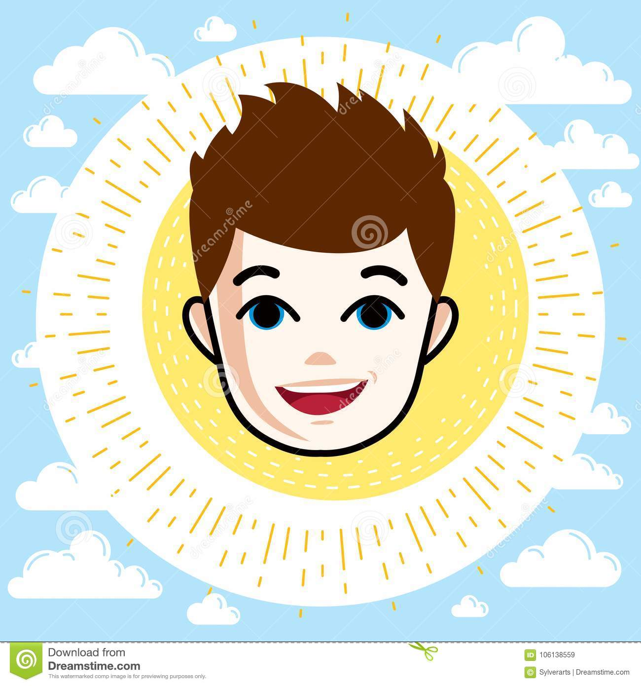 Boy Face, Human Head. Vector Character, Happy Red.
