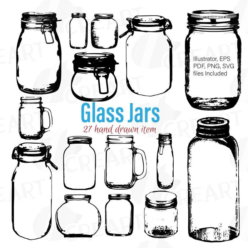 Mason Jars clipart, Glass Jars clip art, Jar crafts, Jar silhouettes and  vectors, Illustrator, EPS, Ai, SVG files included.