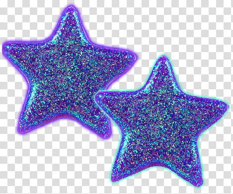 RNDOM, two purple glittered stars transparent background PNG.