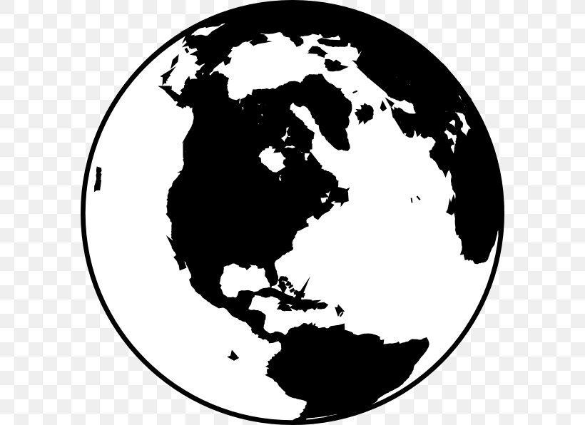 Globe Black And White World Clip Art, PNG, 594x596px, Globe.