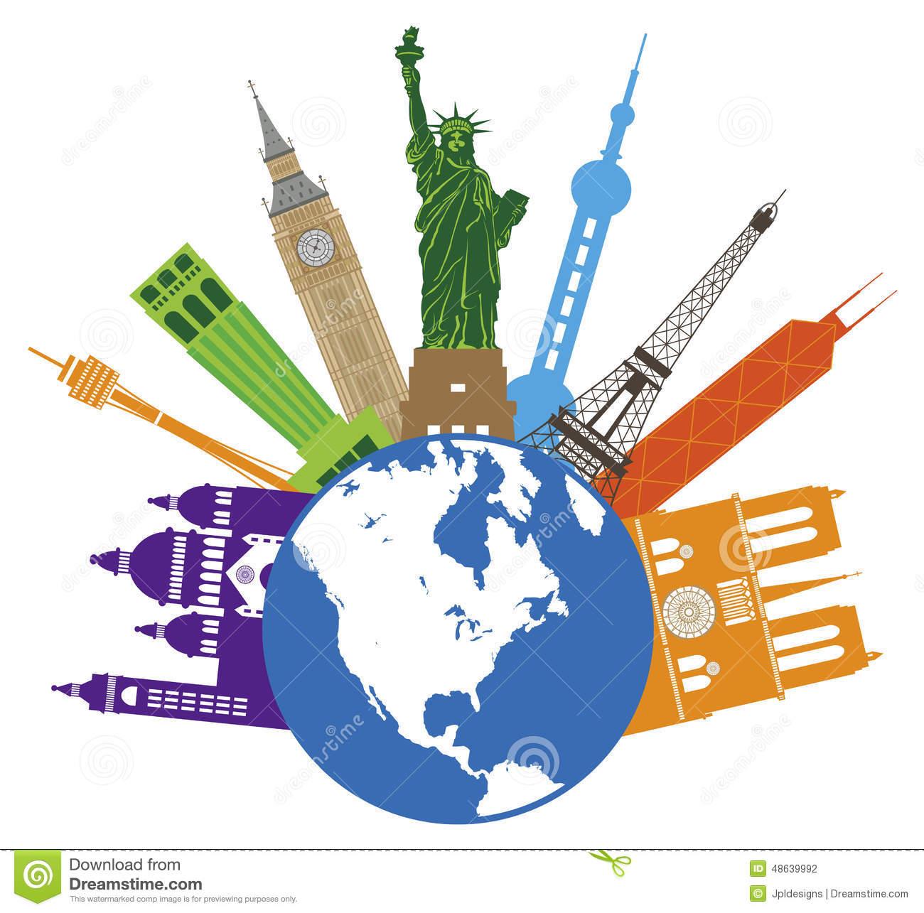 Globe For World Travel Color Vector Illustration Stock Vector.