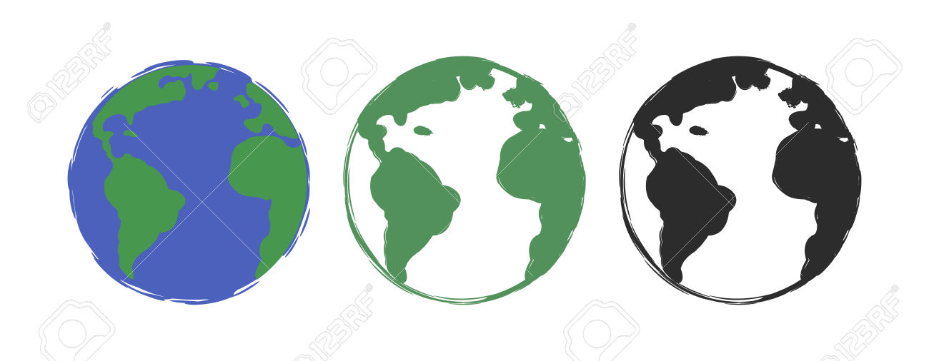 Planet Earth Grunge Scratched Drawing Paint Icons. Vector Color.