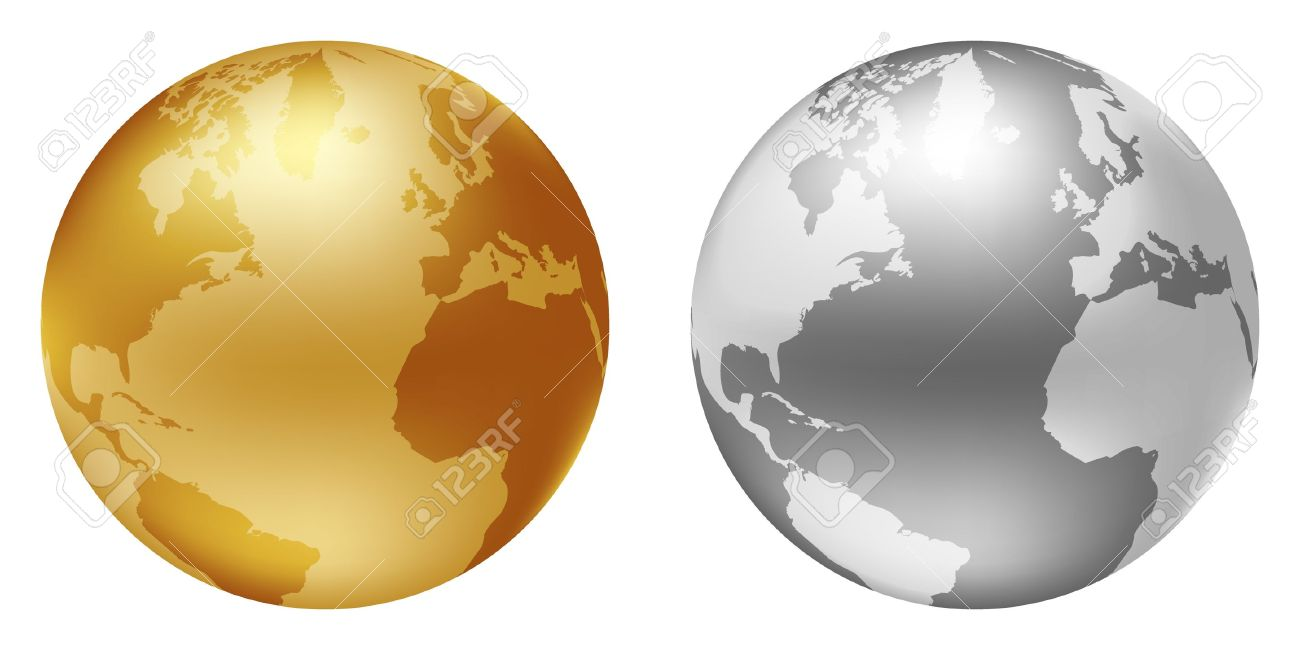 World Globe Silver And Golden Color Royalty Free Cliparts, Vectors.