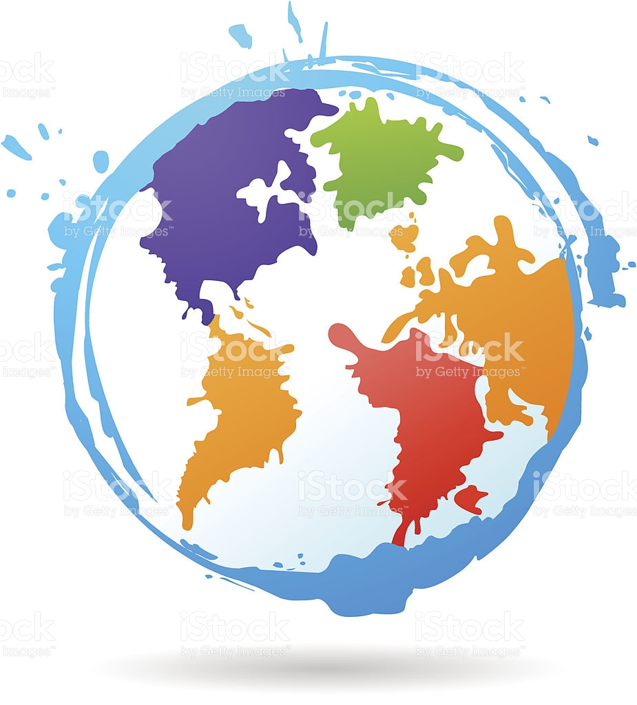 Vector Color Spashed Grunge Globe stock vector art 92734880.